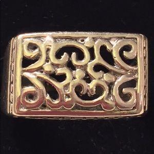 Vint 925SterlingSilver(?) Scrolled Ring sz 9.0